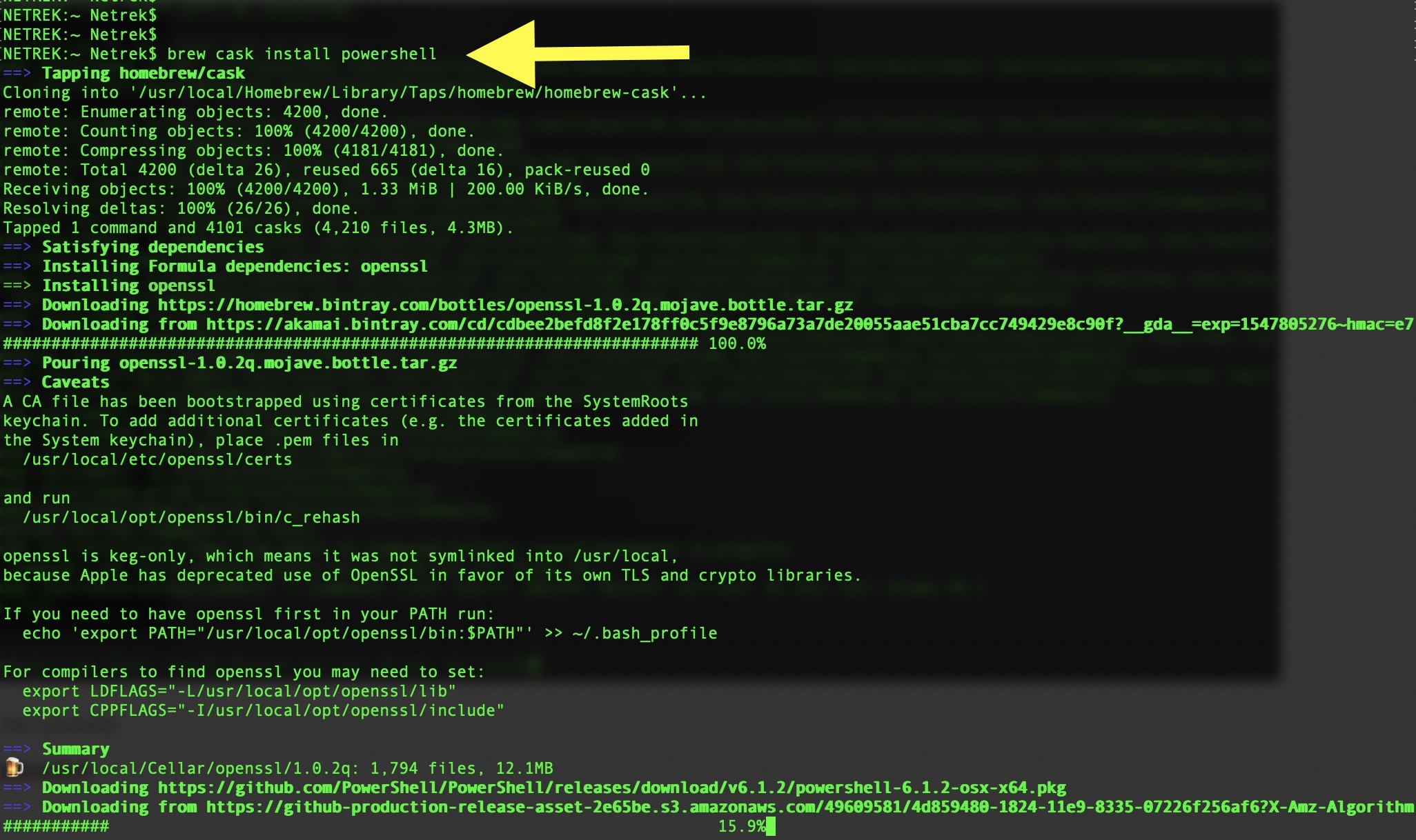 Installing PowerShell Core on macOS and connect to Office