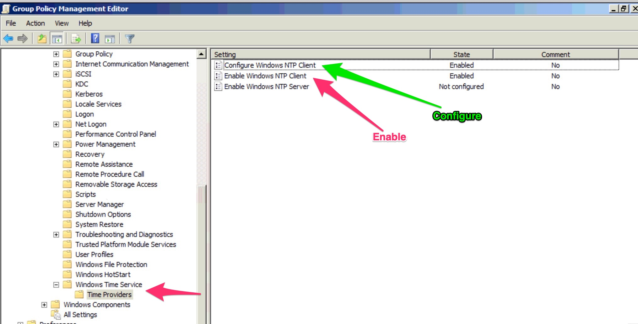 Setting a right time synchronisation in a Microsoft Windows